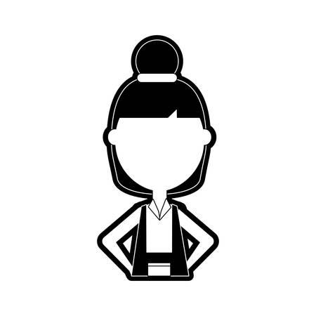 flat line monochromatic teacher  woman over white background  vector illustration Illustration