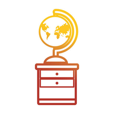 old pc: Flat line colored desk  with  global planet over white background  vector illustration Illustration