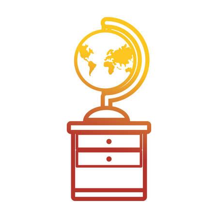 Flat line colored desk  with  global planet over white background  vector illustration Illustration