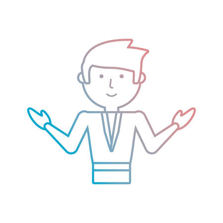 Flat line  colored teacher man over white background  vector illustration Illustration