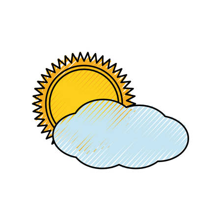 Colored cloudy weather  over  white background  vector illustration
