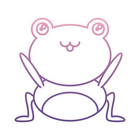 cute frog icon over white background on colored outline illustration