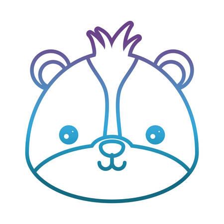 Lindo icono de skunk sobre ilustración de vector de fondo blanco