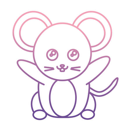 Cute mouse icon over white background vector illustration