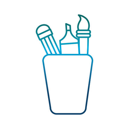 secretarial: cup with pencil and utensils icon over white background vector illustration Illustration