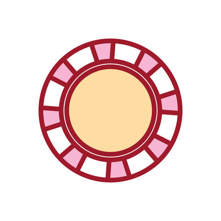 Flat line colored casino chips over white background, vector illustration.