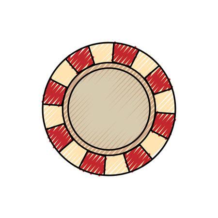 Flat line colored casino chips doodle over white background vector illustration Illustration
