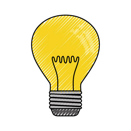 Flat line colored light bulb  doodle over white background  vector illustration