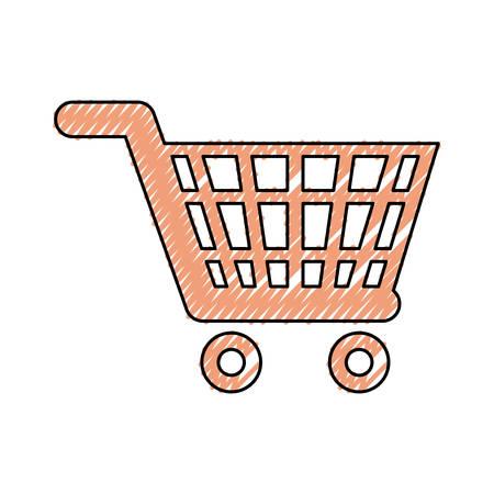 flat line colored shop car doodle over white background  vector illustration