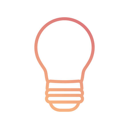 Flat line colored light bulb over white background  vector illustration