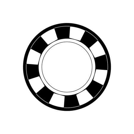 gamble: fflat line monochromatic casino chips over white background vector illustration