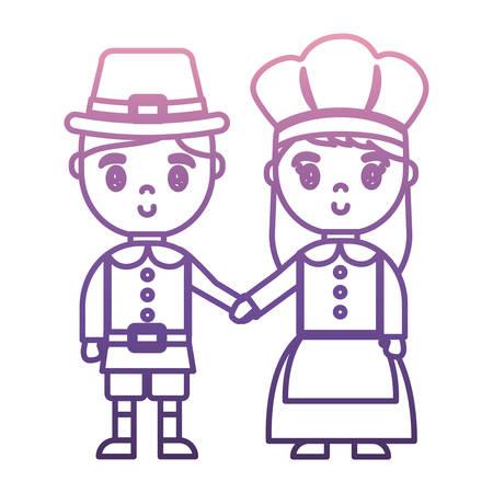 Mann und Frau mit Pilger-Kostüm-Symbol auf weißem Hintergrund Vektor-Illustration Standard-Bild - 89169062
