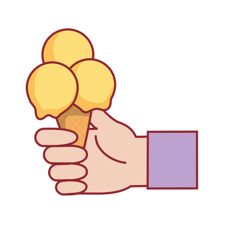 hand with ice cream icon over white background colorful design  vector illustration
