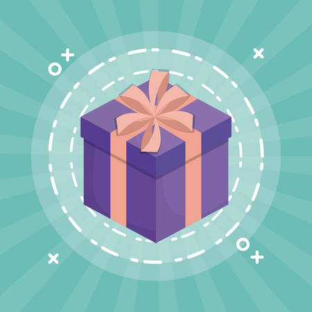 gift box icon over turquoise background vector illustration Illustration