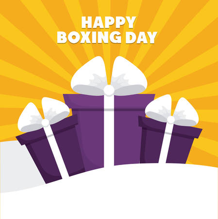 boxing day: gift boxes  icon over yellow background colorful design vector illustration