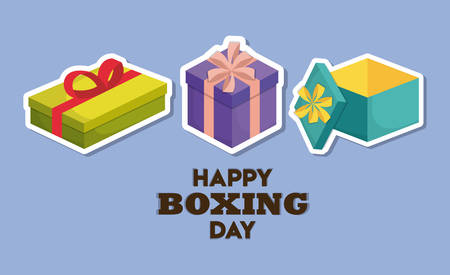 happy boxing day icon set over purple background colorful design vector illustration
