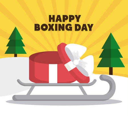 boxing day: sled with gift box icon over colorful background vector illustration