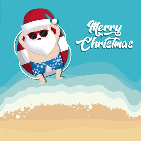 relaxed santa claus on the beach colorful design vector illustration Banco de Imagens - 89347372