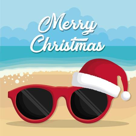sunglasses with christmas hat icon over beach background colorful design vector illustration Illustration