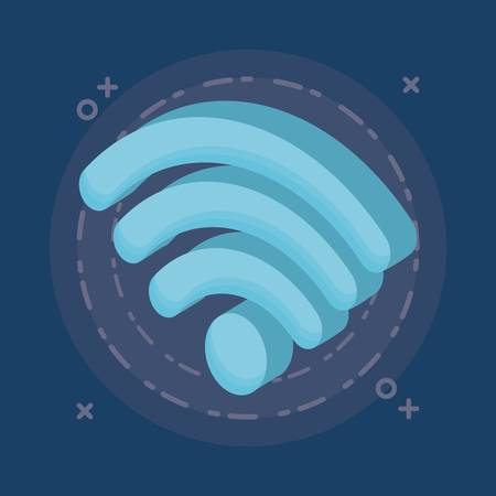 wifi sign icon over blue background colorful design vector illustration