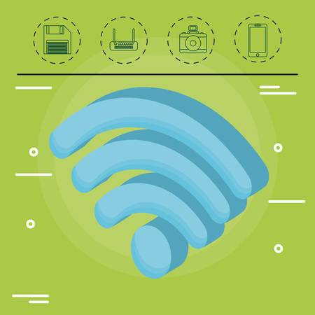 wifi sign and technology devices related icons over green background colorful design vector illustration
