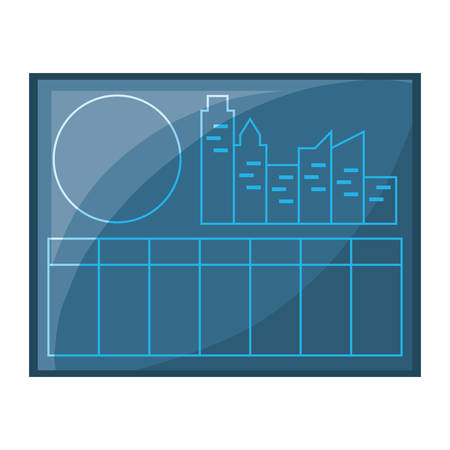 picture with factory building and sun icon over white background vector illustration Illustration