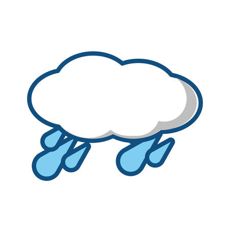 Cloud with water drops icon over white background, vector illustration.