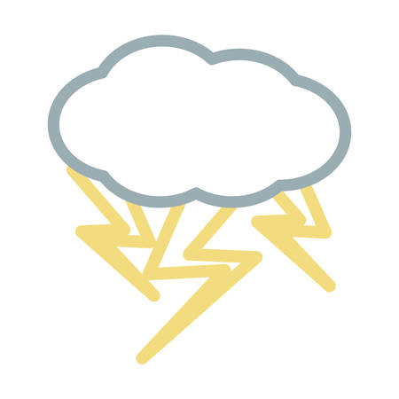 cloud with thunders icon over white background vector illustration