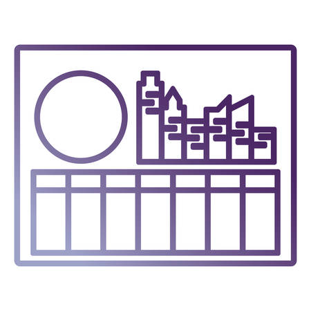Picture with factory building and sun icon over white background vector illustration.