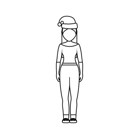 flat line  uncolord woman with  santa hat  over  white background vector illustration Illustration
