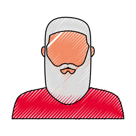 Flat line colored Santa Claus doodle over white background vector illustration