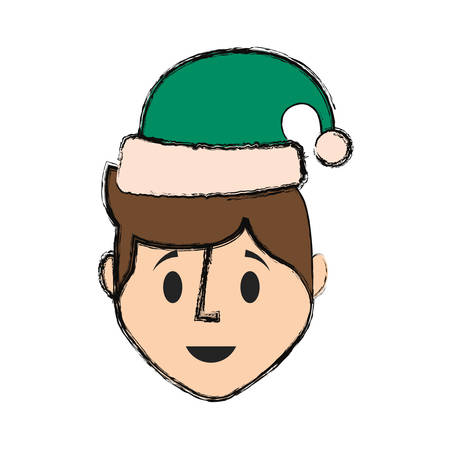flat line colored man face  with santa hat  over white background  vector illustration Illustration