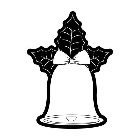 Flat line monochromatic christmas bell over white background vector illustration