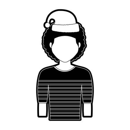 flat line  monochromatic  man  with santa hat  over white background  vector illustration Illustration