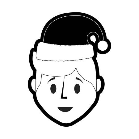 flat line  monochromatic  man  face  with santa hat  over white background  vector illustration