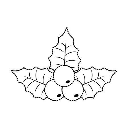 choosing: Flat line uncolored Christmas pick sticker over white background vector illustration Illustration
