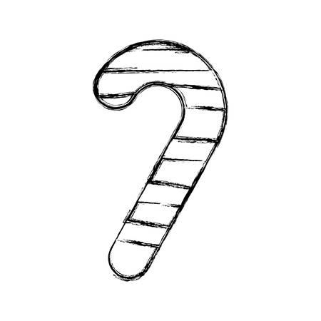 Flat line uncolored christmas cane over white background vector illustration Illustration
