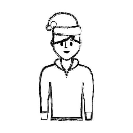 Flat line uncolored man with santa hat over white background vector illustration Illustration