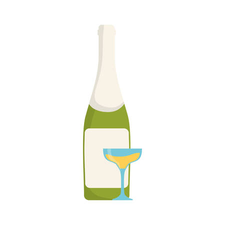 popping cork: colorful bottle champagne with  glass of champagne over white background  vector illustration Illustration
