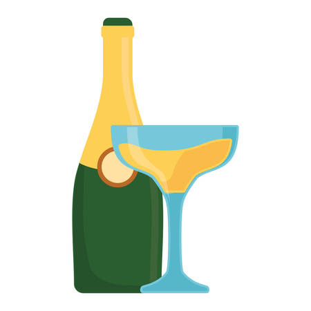 christmas drink: colorful bottle champagne with  glass of champagne over white background  vector illustration Illustration