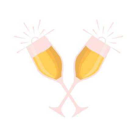 Bicchieri colorati di champagne su sfondo bianco illustrazione vettoriale Archivio Fotografico - 89694627