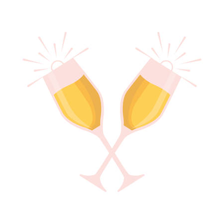 colorful  glasses  of champagne over white background  vector illustration Иллюстрация