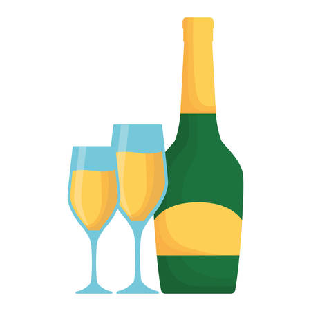 colorful bottle champagne with  glasses of champagne over white background  vector illustration Illustration