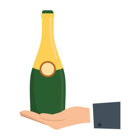 popping cork: colorful  hand  with bottle of champagne over white background  vector illustration