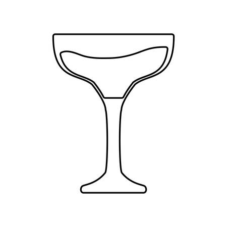 Flat line uncolored glass of champagne over white background vector illustration