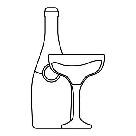 popping cork: Flat line uncolored bottle with glass of champagne.