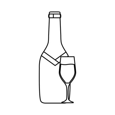 Flat line uncolored bottle of champagne and glass. Illustration
