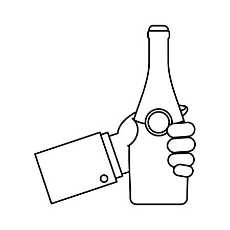 popping cork: Flat line uncolored hand with bottle of champagne. Illustration