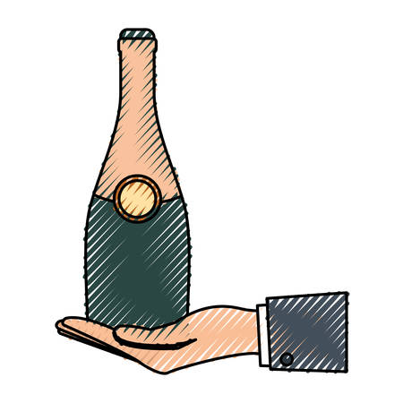 event party: colored hand with  bottle champagne  over white background  vector illustration Illustration