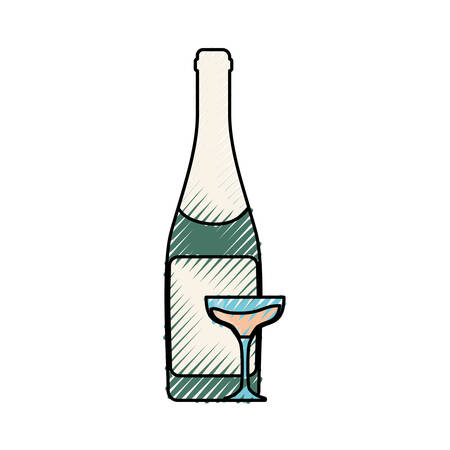colored  bottle with glass of champagne  over white background  vector illustration